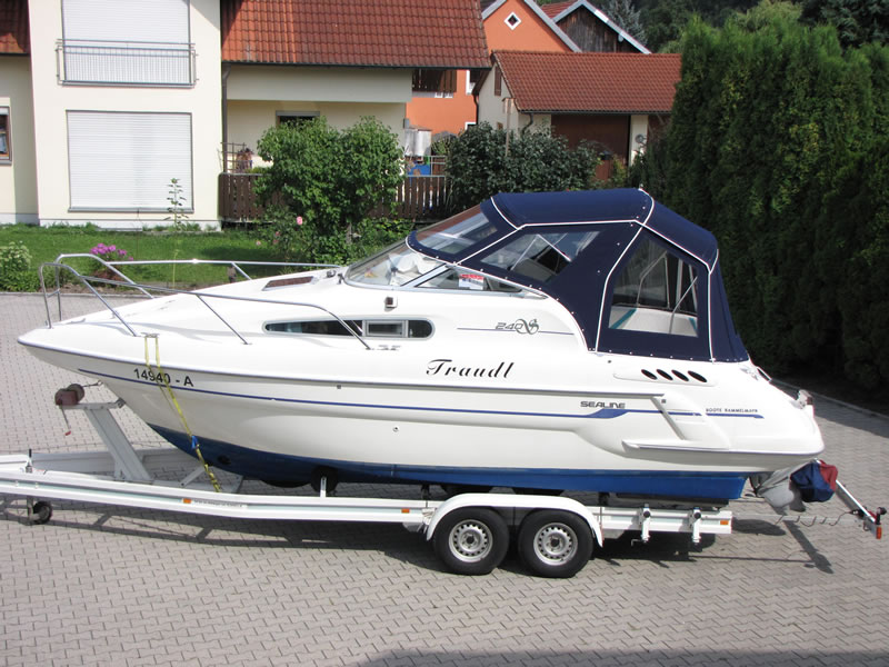 Verdeck Sealine S240 mit Bimini Bootsverdeck Persenning 01