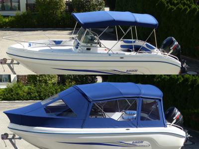 Bimini mit Schlechtwetterverdeck Konsolenboot Ranieri Shadow 23